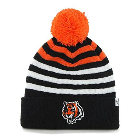 "YOUTH Cincinnati Bengals Black Cuff ""Yipes"" Beanie Hat with Pom - NFL Kid's Cuffed Winter Knit Toque Cap"