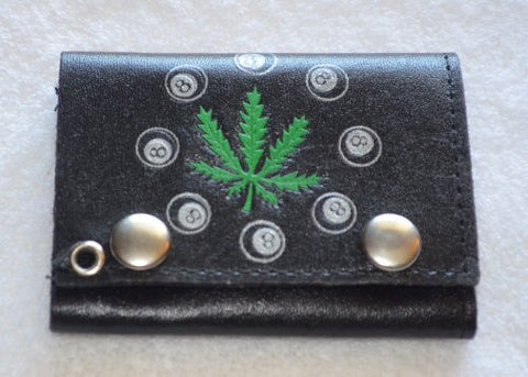 Black Tri-Fold Leather Marijuana Wallet - Pot Leaf 8-ball Wallet