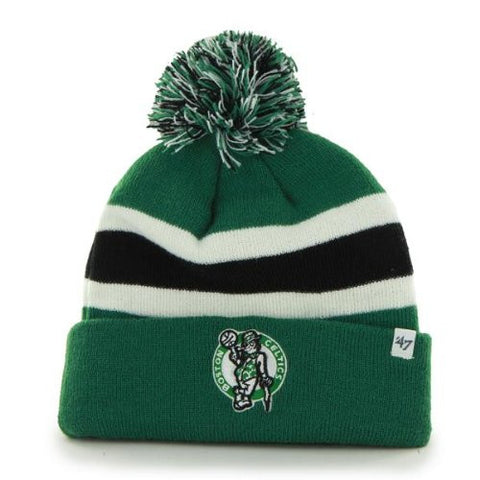 "Boston Celtics Green Cuff ""Breakaway"" Beanie Hat with Pom - NBA Cuffed Winter Knit Toque Cap"
