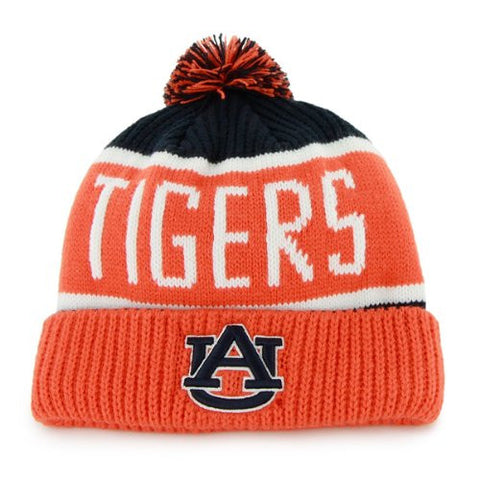 "Auburn Tigers Orange ""Calgary"" Beanie Hat with Pom - NCAA Cuffed Winter Knit Toque Cap"