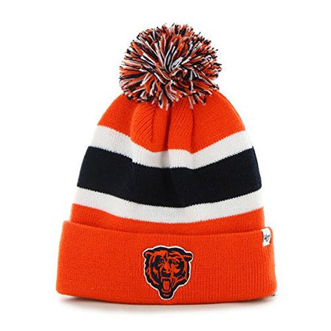 Chicago Bears Orange Cuff Breakaway Beanie Hat with Pom - NFL Cuffed Winter Knit Toque Cap