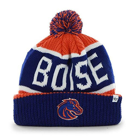 "Boise State Broncos Blue Cuff ""Calgary"" Cuffed Beanie Hat with Pom - NCAA Cuffed Winter Knit Toque Cap"