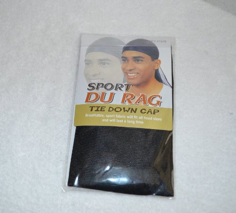 Black Du Rag Tie Down Cap - Wave Builder Hat