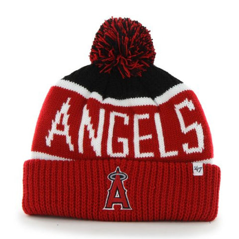 "Anaheim Angels Red ""Calgary"" Beanie Hat with Pom - Los Angeles MLB Cuffed Winter Knit Toque Cap"