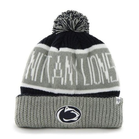 "Pennsylvania State Nittany Lions Navy Blue ""Calgary"" Beanie Hat with Pom - Penn PSU NCAA Cuffed Winter Knit Toque Cap"