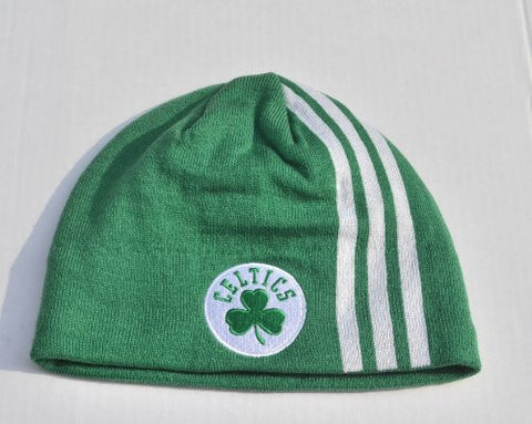 Boston Celtics Green Stripe Skull Cap - NBA Cuffless Beanie Winter Hat