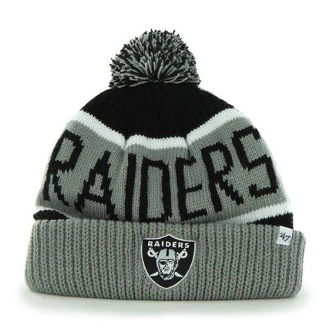 "Oakland Raiders Gray Cuff ""Calgary"" Beanie Hat with Pom - NFL Cuffed Winter Knit Toque Cap"