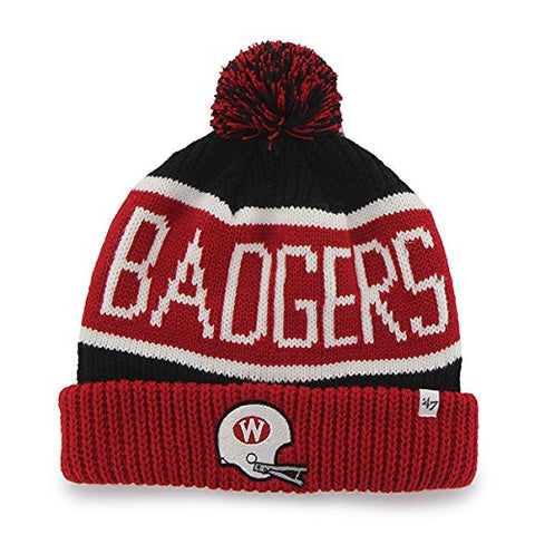 "Wisconsin Badgers Red Cuff ""Calgary"" Beanie Hat with Pom - NCAA Cuffed Winter Knit Toque Cap"