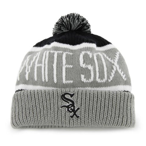"Chicago White Sox Gray Cuff ""Calgary"" Beanie Hat with Pom - MLB Cuffed Winter Knit Toque Cap"