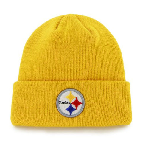 Pittsburgh Steelers Cuffed Embroidered Logo Winter Knit Hat - Yellow