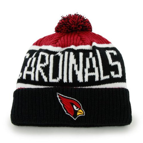 "Arizona Cardinals Black ""Calgary"" Beanie Hat with Pom - NFL Cuffed Winter Knit Toque Cap"