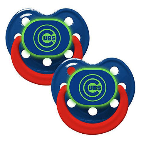 Chicago Cubs Glow in Dark 2-Pack Baby Pacifier Set - MLB Infant Pacifiers