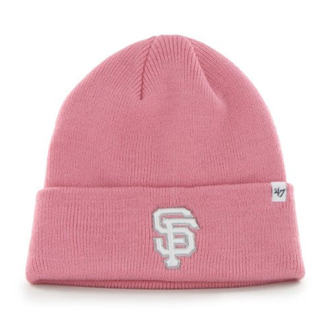 San Francisco Giants Pink Cuffed Beanie Hat - MLB SF Rose Winter Knit Toque Cap