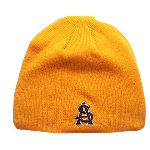 "Arizona State Sun Devils Yellow ""Edge"" Skull Cap - NCAA Cuffless Winter Knit Beanie Toque Hat"
