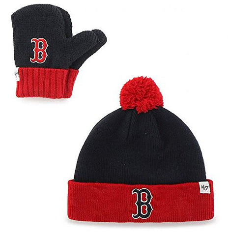 "Boston Red Sox Infant/Toddler Navy ""Bam Bam"" Beanie Hat POM and Glove Gift combo - MLB Baby Knit Cap/Mittens"