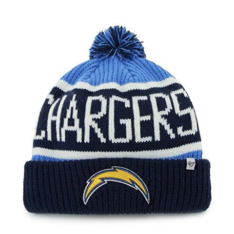 "San Diego Chargers Blue Razz Cuff ""Calgary"" Beanie Hat with Pom - NFL SD Cuffed Winter Knit Toque Cap"