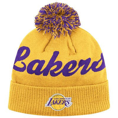 Los Angeles Lakers Yellow Script Adidas Pom Beanie Cap - NBA LA Cuffed Knit Hat