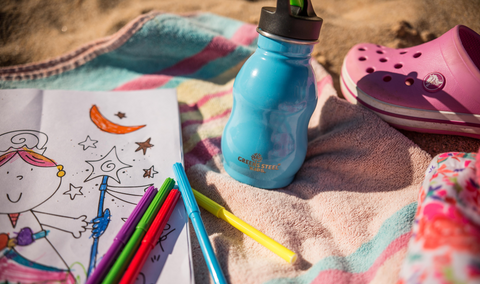 A child's drawing and stainless steel water bottle