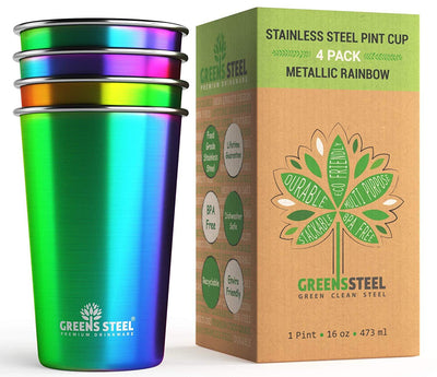 16 oz Rainbow Stainless Steel Tumbler Cups (4 Pack) - Greens Steel