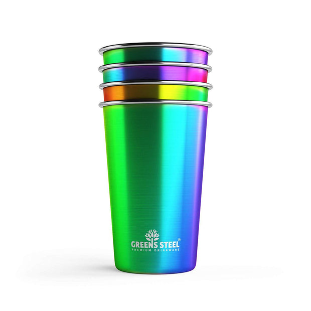 16 oz Rainbow Stainless Steel Tumbler Cups (4 Pack)