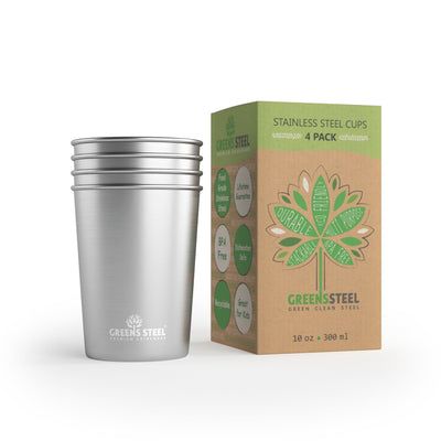 10 oz Kids Stainless Steel Tumbler Cups (4 Pack) - Greens Steel