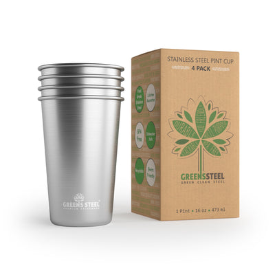 16 oz Stainless Steel Tumbler Cups (4 Pack) - Greens Steel