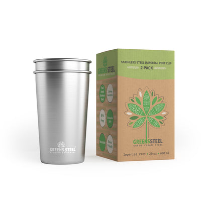 20 oz Stainless Steel Tumbler Cups (2 Pack) - Greens Steel