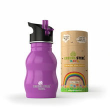 Stainless steel kids water bottle - Greens Steel - purple