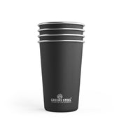 16 oz Black Stainless Steel Tumbler Cups (4 Pack)