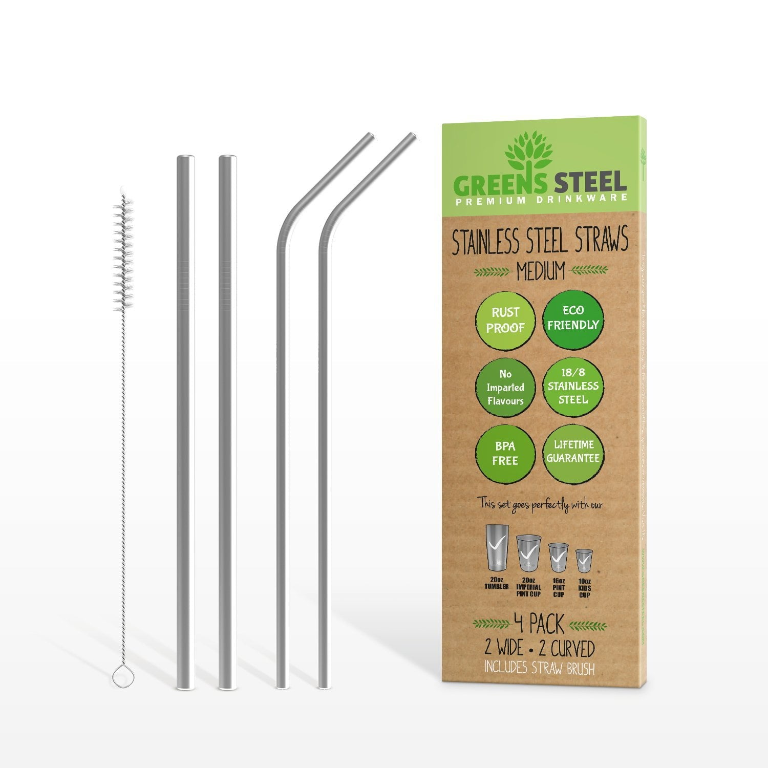 Reusable and Eco Friendly 4 Pack Lifetime Guarantee Stainless Steel Extra Long Smoothie Straws