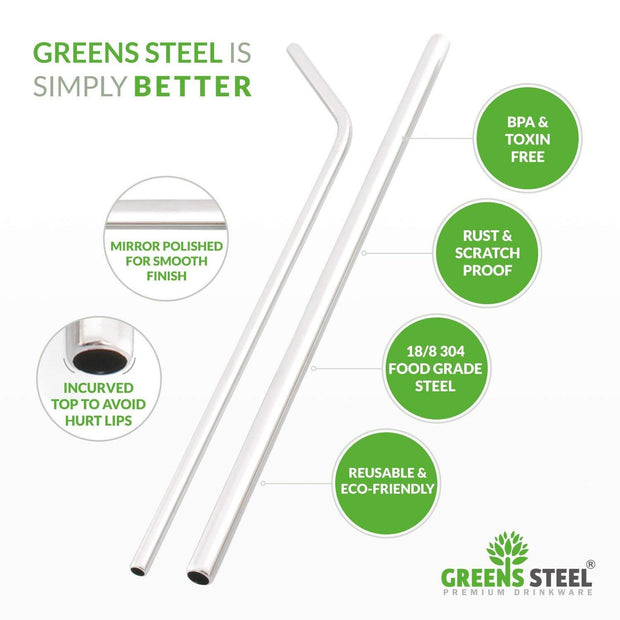 Eco-Friendly Reusable Stainless Steel Straws and Cleaning Brush - Greens Steel
