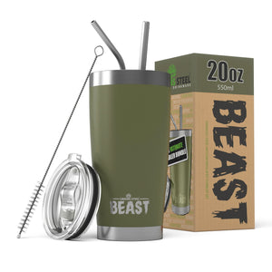 20 oz. stainless steel tumblers with lid and two stainless steel straws - Army Green