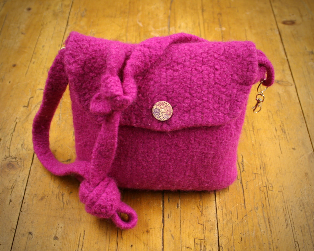Spey Felted Wool Bag in Cerise
