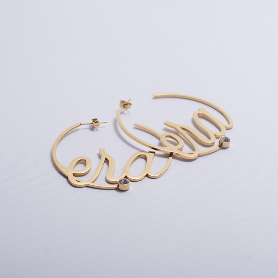 Era Logo Gold Hoops