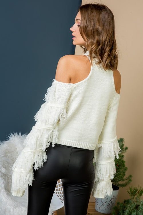 Liani White Fringe Sweater