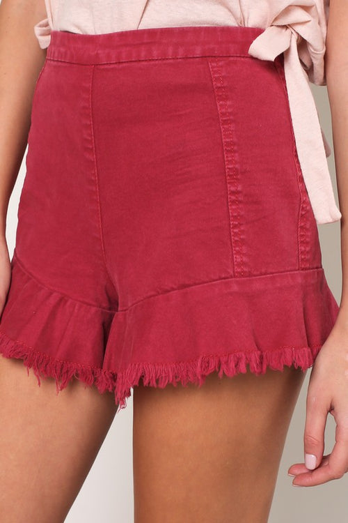 Cali Red Ruffle Shorts