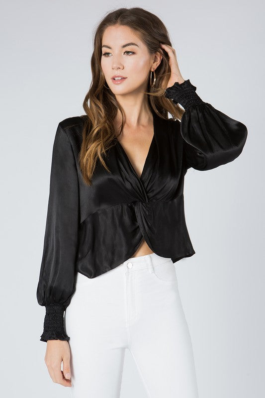 Niomi Black Satin Top