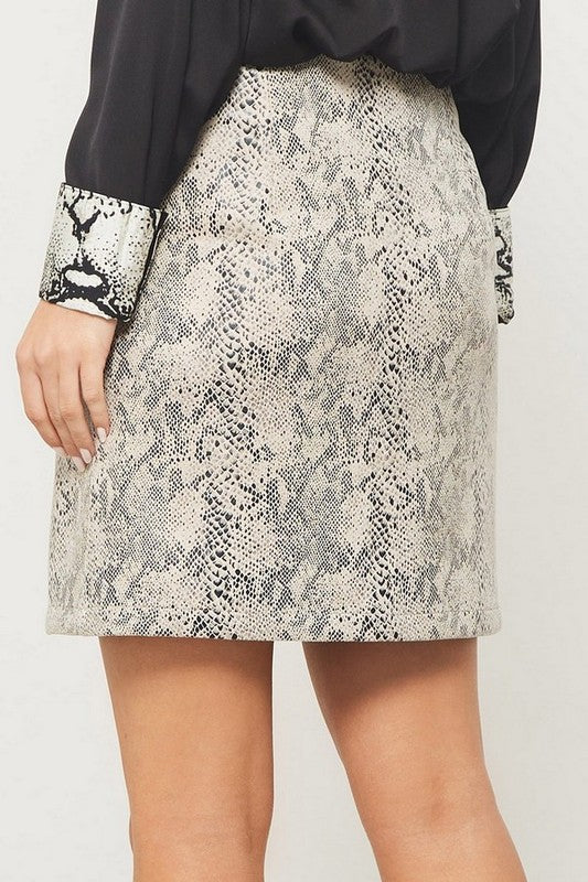 Avril Snake Print Mini Skirt