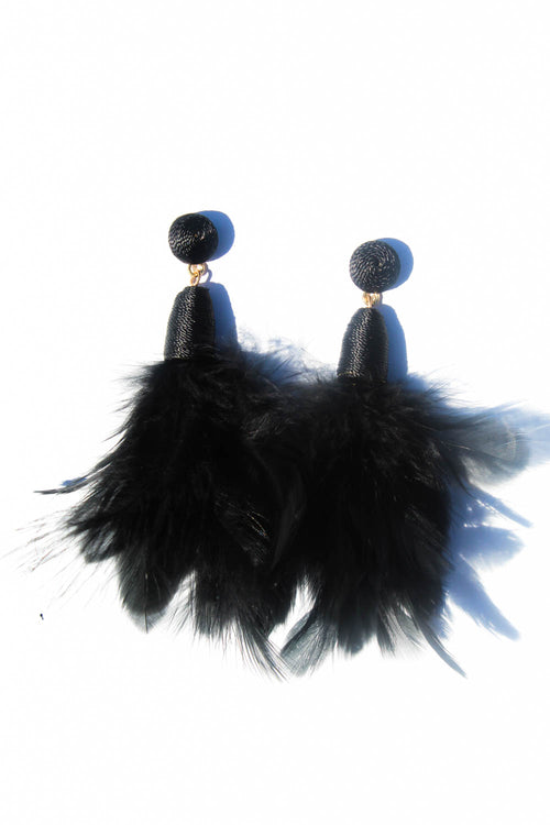Ambrosia Feather Earrings Black