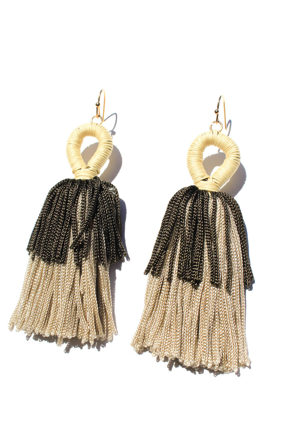Camo Neutrals Tassel Earrings