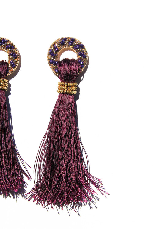 Chrissy Purple Tassel Earrings