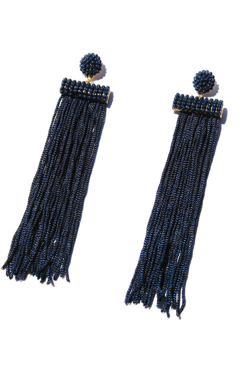 Della Navy Tassel Earrings