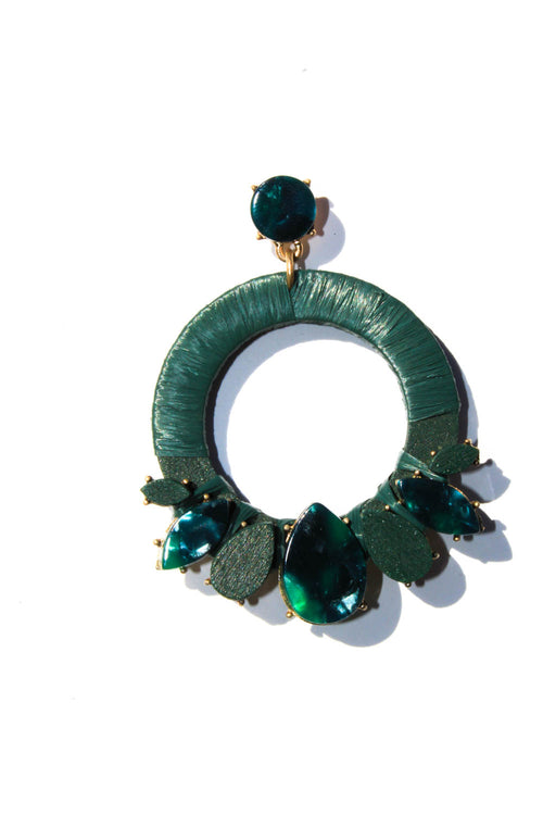 Fiorella Green Statement Earrings