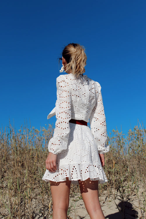 Bali Long Sleeve White Dress
