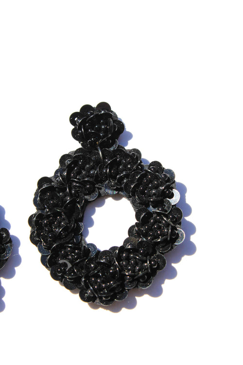 Jesse Beaded Floral Black Earrings