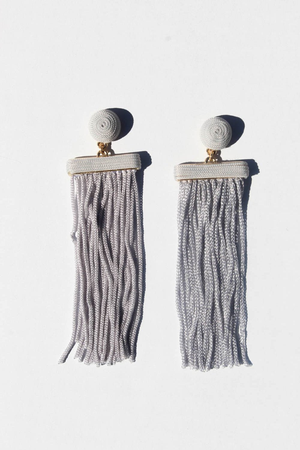 June Grey Tassel Earrings