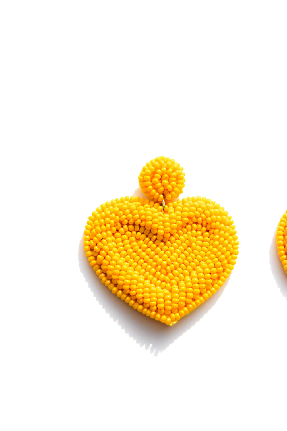 Lover Yellow Heart Beaded Earrings