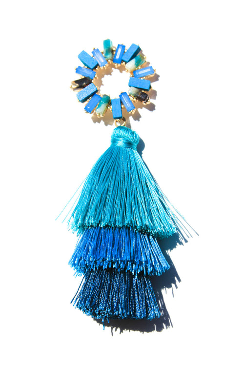 Luma Blue Fringe Earrings