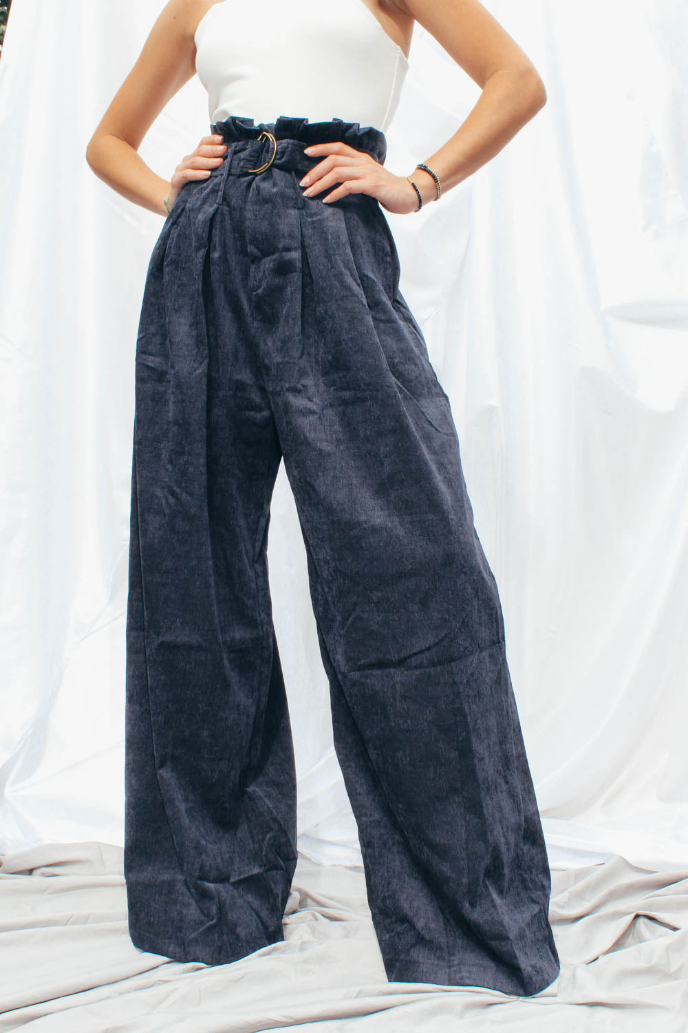 Mel Pleated indigo color Corduroy Pants with D-Ring Belt