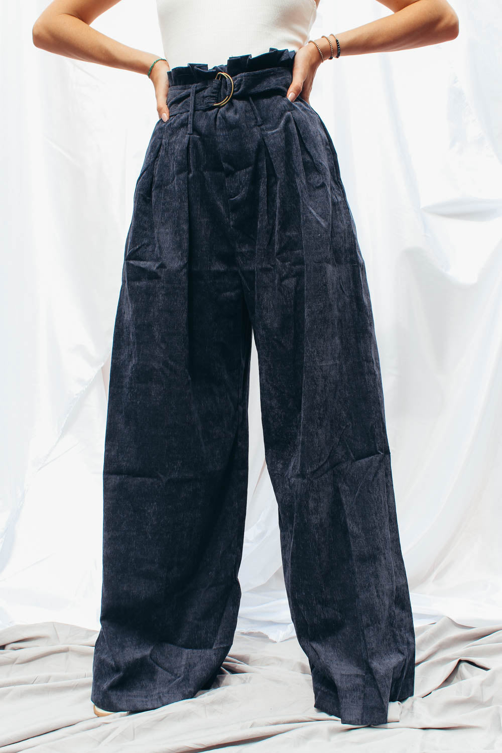 Mel Pleated Indigo Corduroy Pants with D-Ring Belt